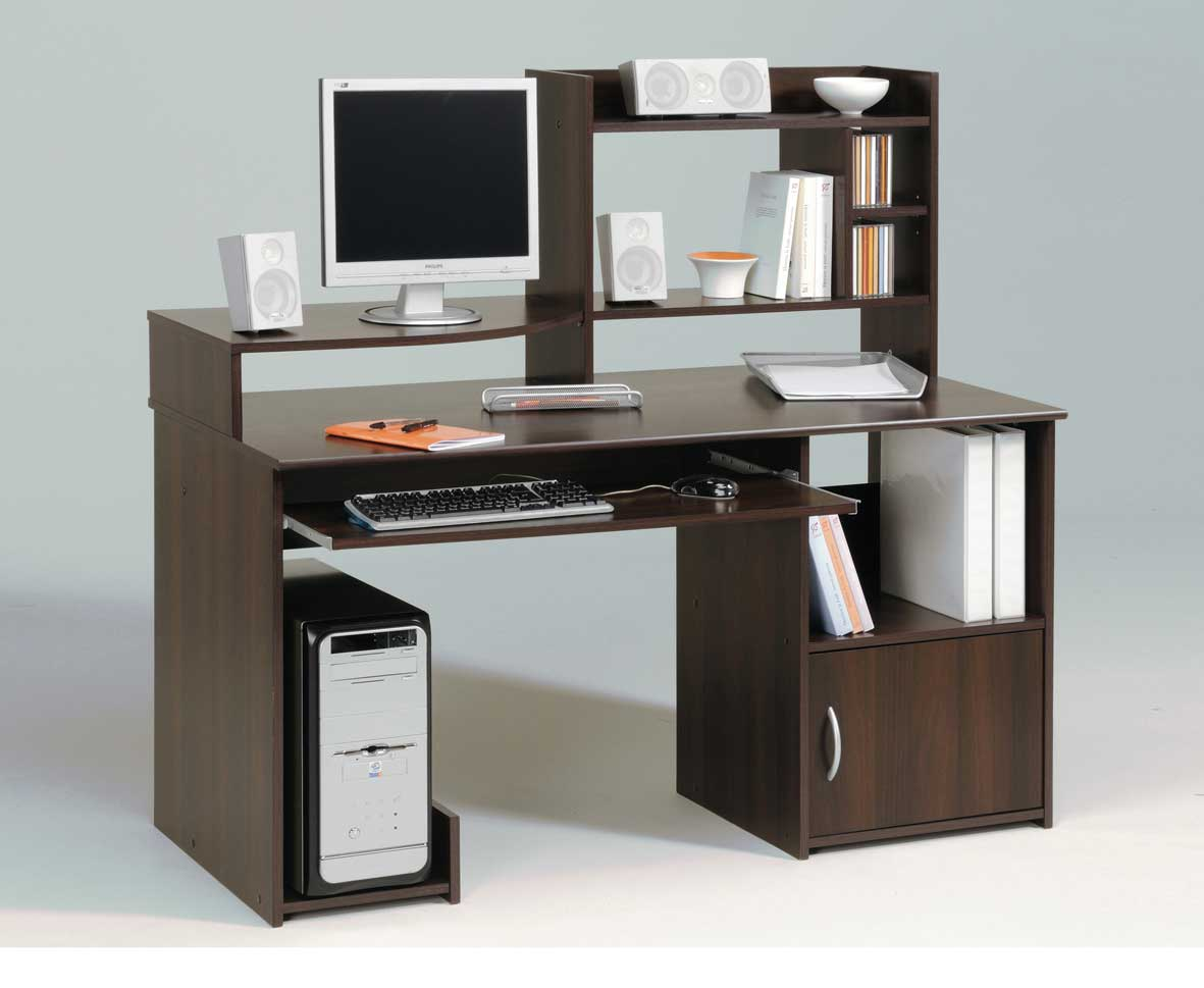 modern walnut polish computer in desk