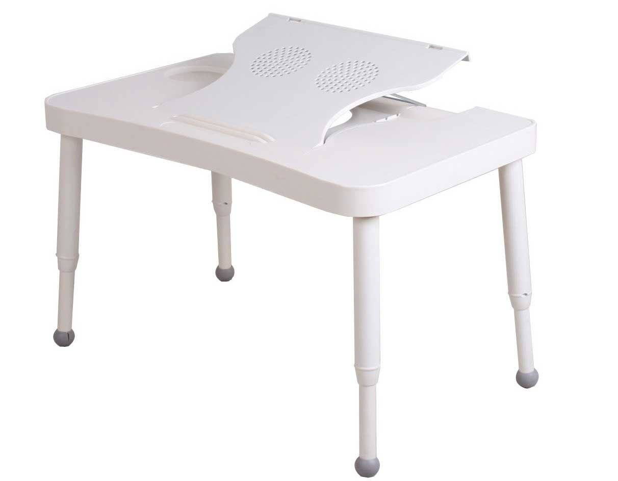 radiationproof white folding computer table with USB fans