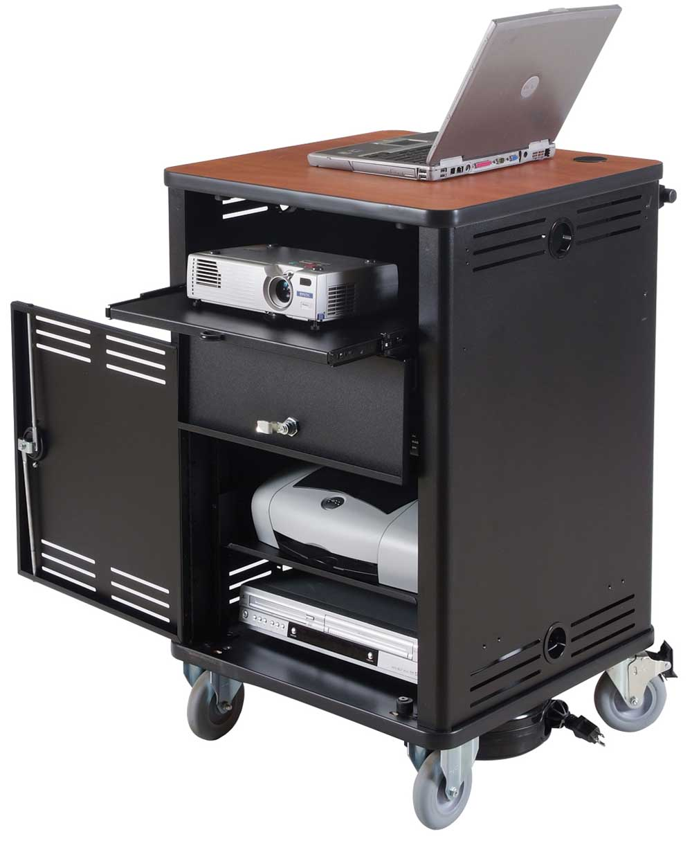 small size compact computer desk cart in black
