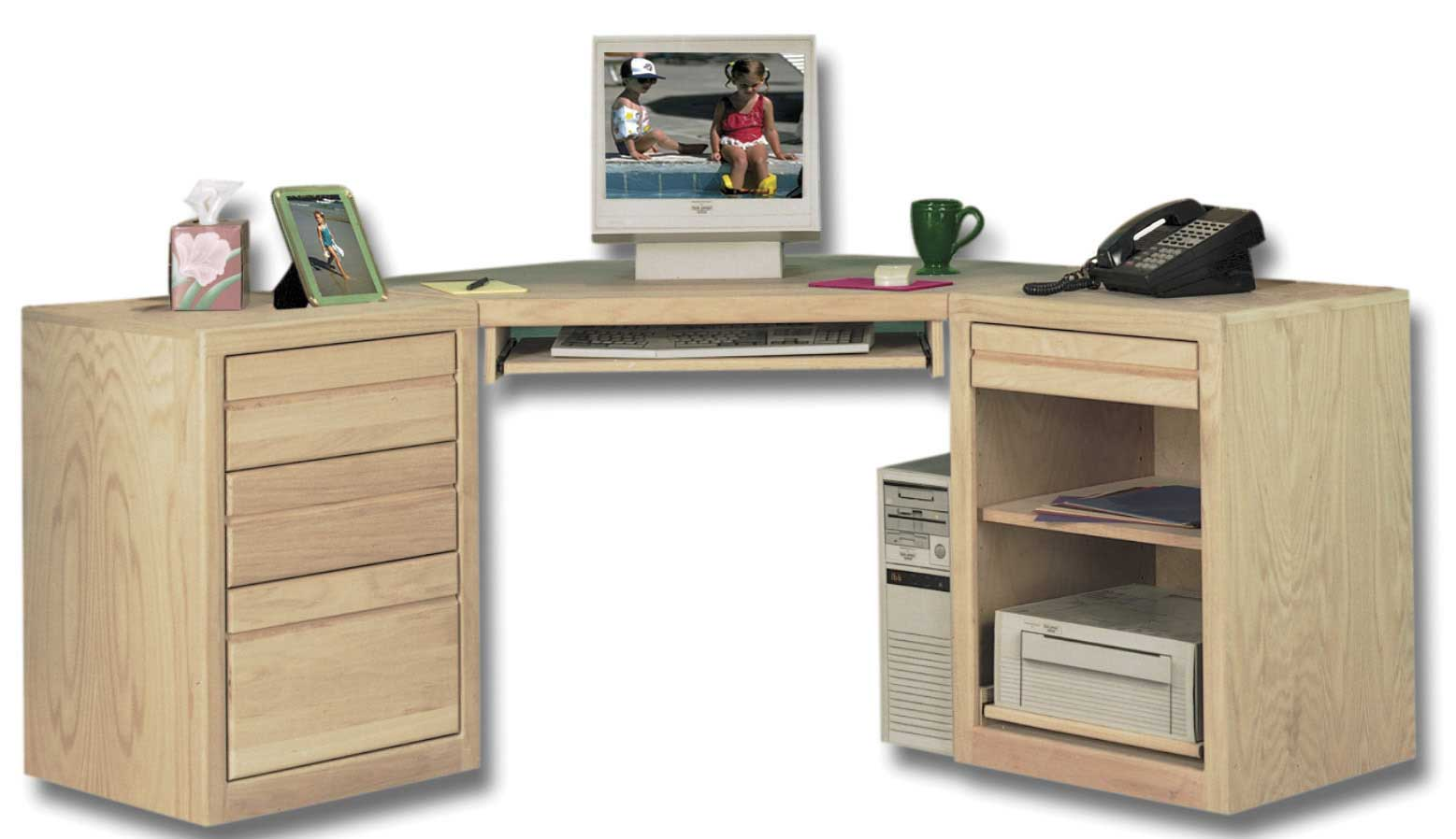 solid wood unfinished file cabinets on computer desk