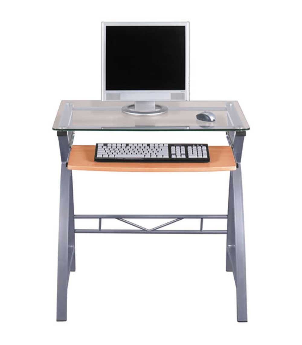 z-line aura metal silver glass computer desk design