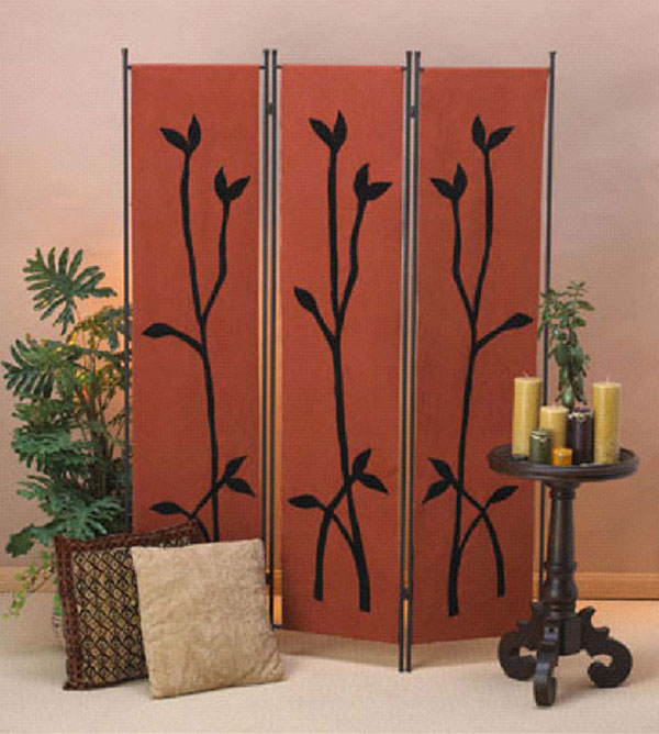 3 panels decorative red room curtain dividers