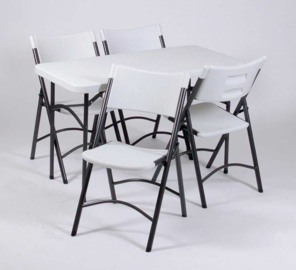 4ft rectangular white folding tables and chairs