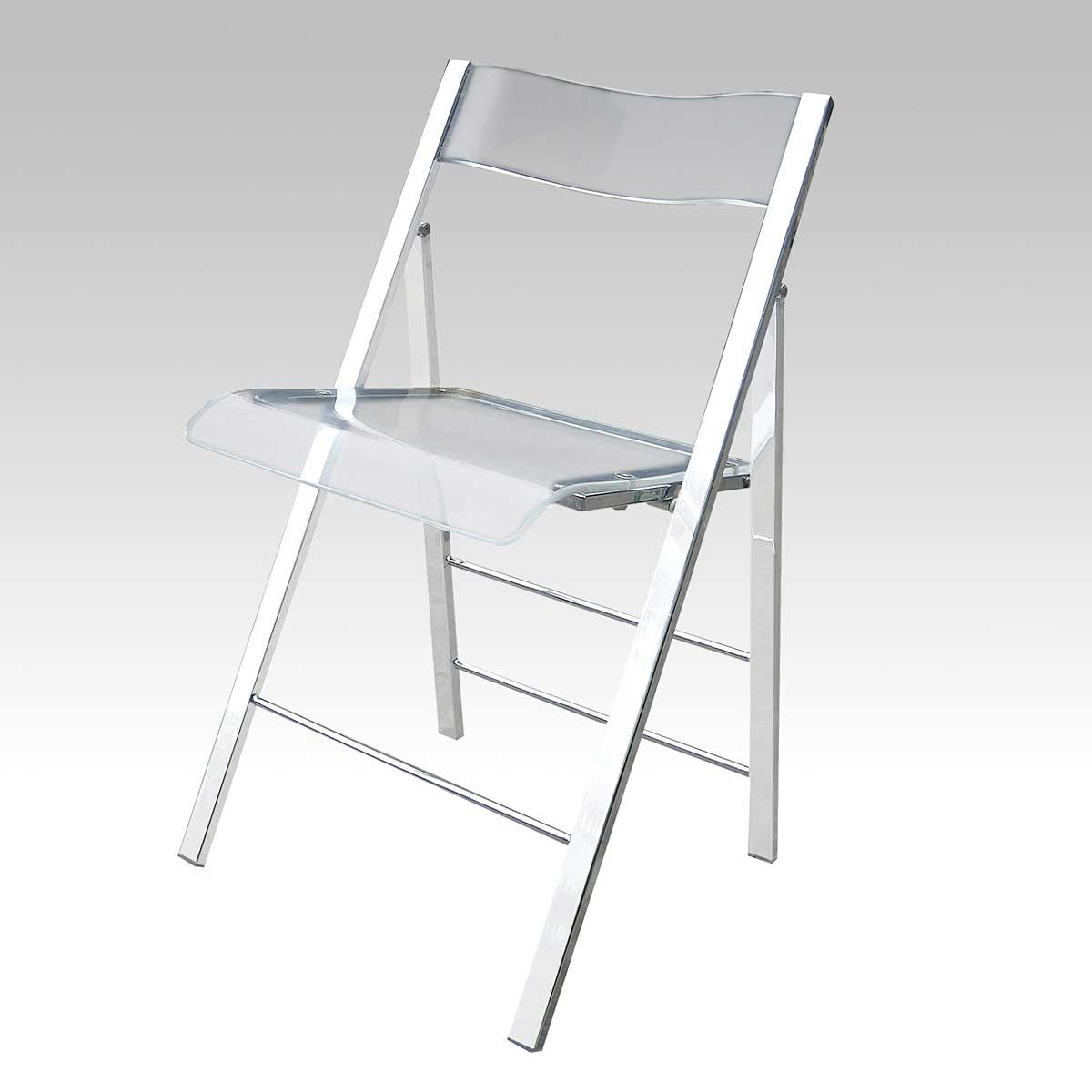Alston Clear Glass Lucite folding chairs