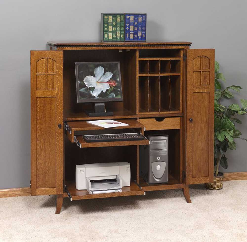 Amish furniture solid wood corner computer armoires