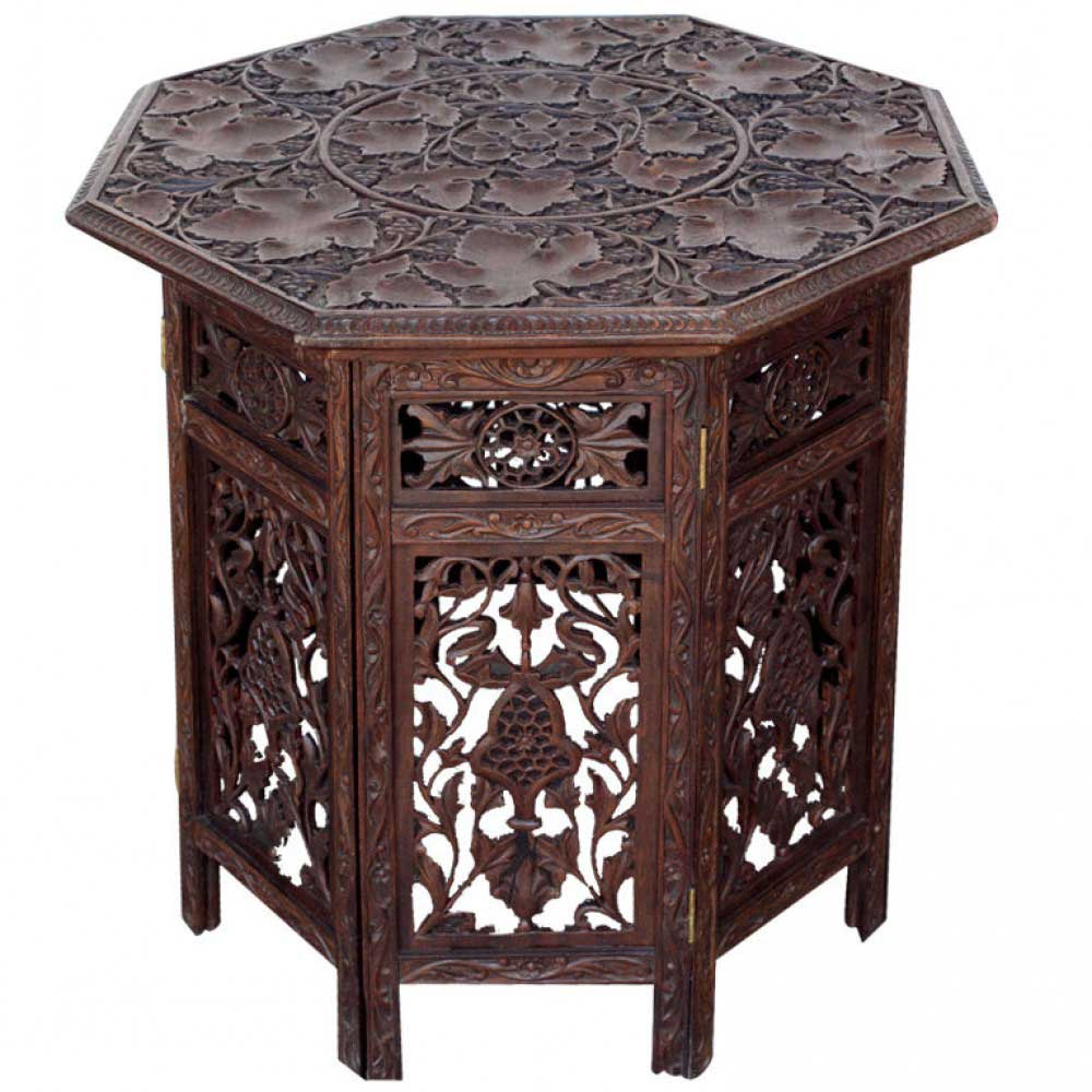 Anglo Indian Folding Table from Solid Rosewood with Open Carved Design