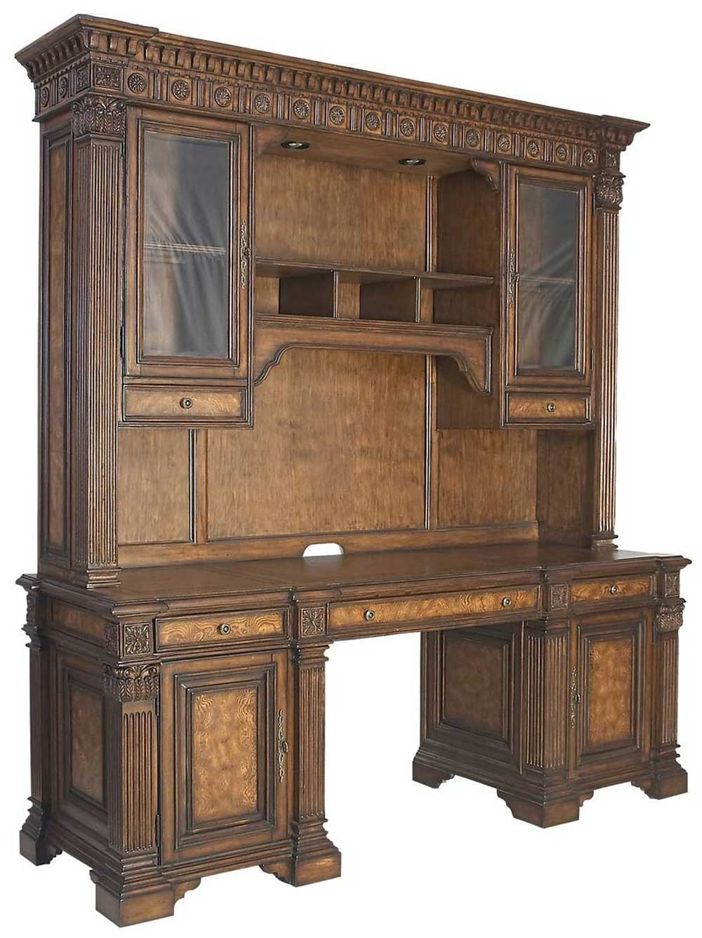 Beauregard Office Computer Credenza with Top Hutch