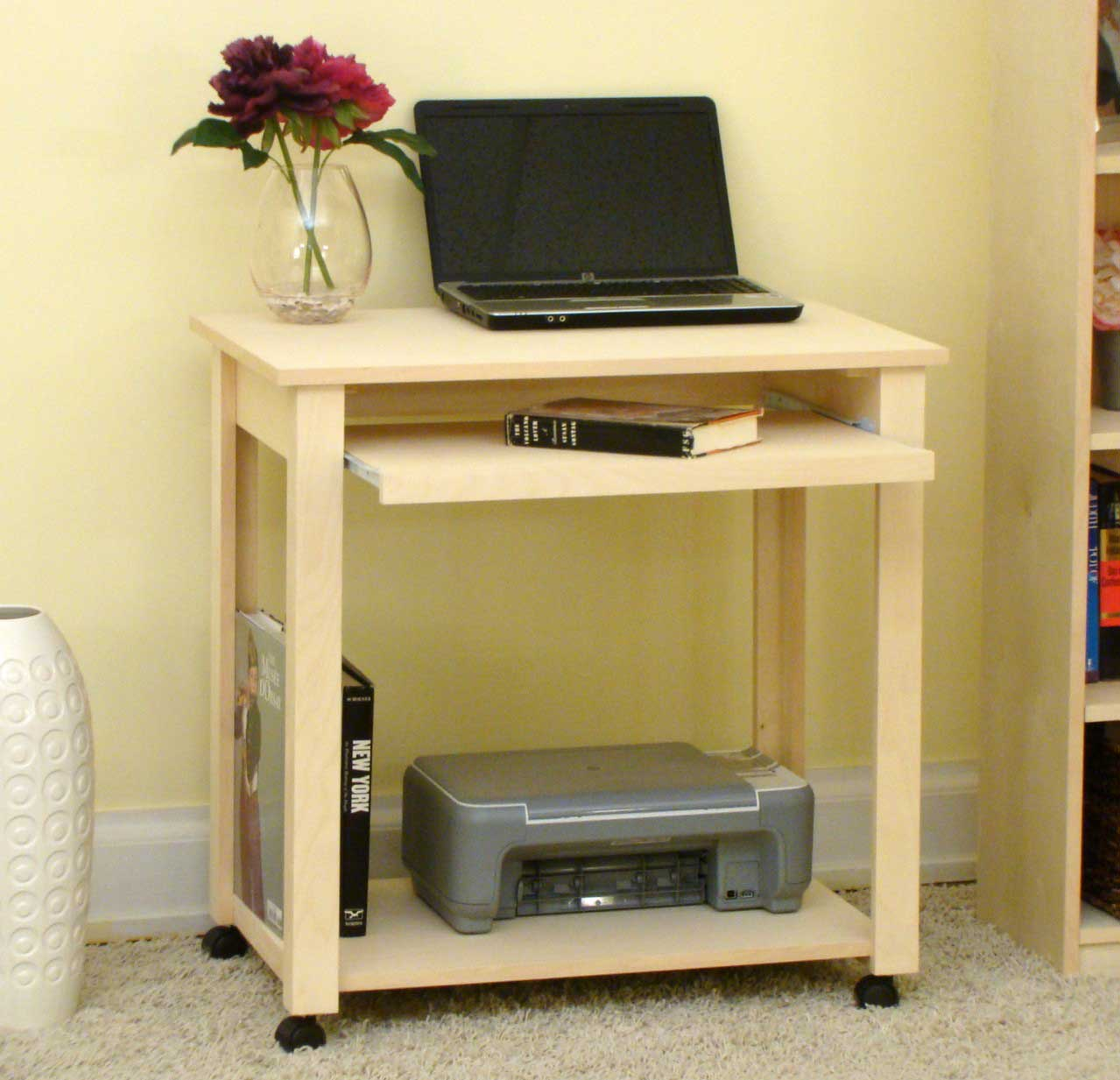 Birch unfinished compact computer cart with keyboard tray