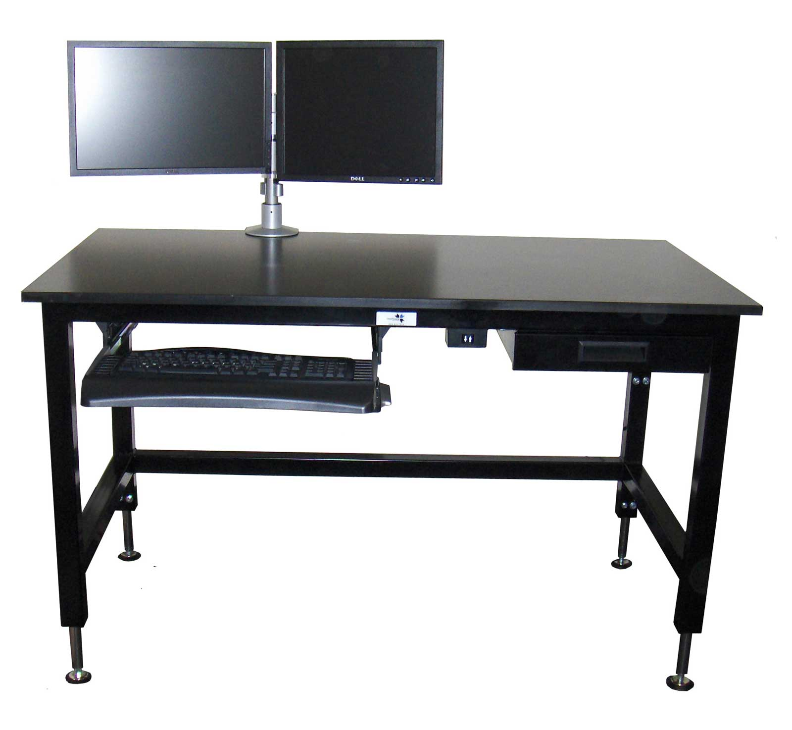 Black computer desk with adjustable height feature