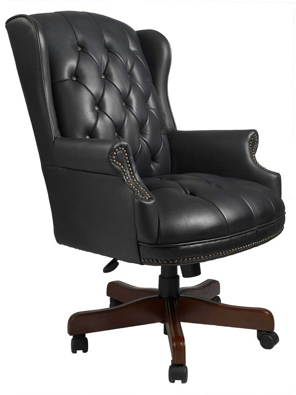 Boss Wingback Black Leather Antique Office Seat