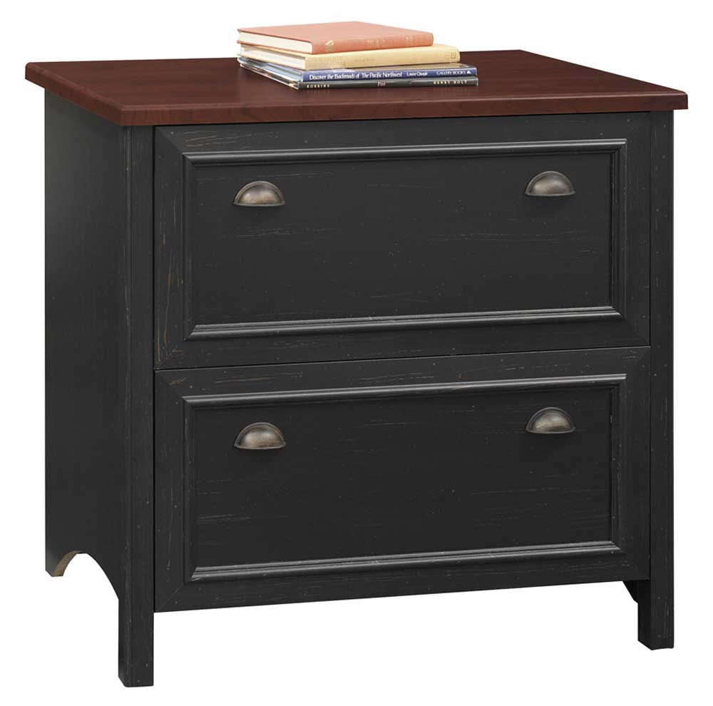 Bush Stanford Antique Black 2 Drawer Lateral File Cabinet