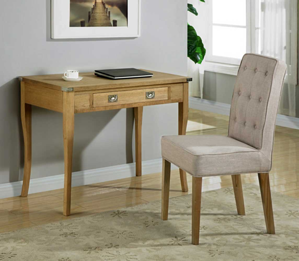 Campaign Natural Finish Solid Oak Writing Table and Chair