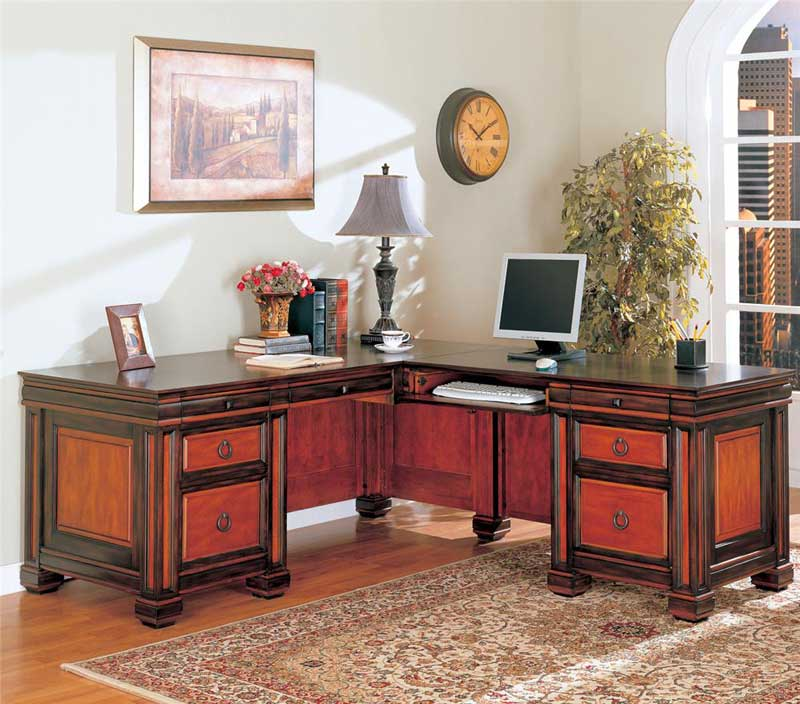 Chomedey traditional L-shaped office desk