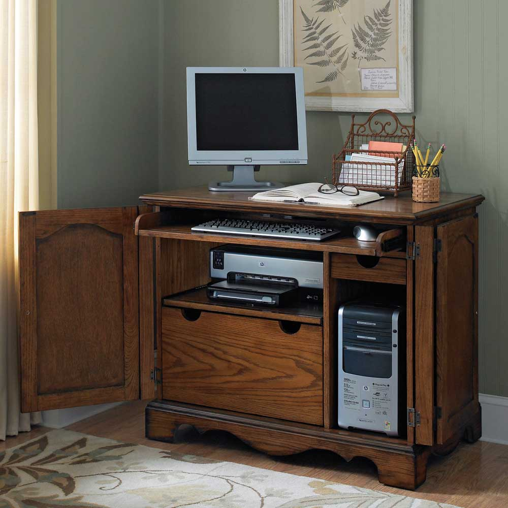 Country compact and casual computer armoires for home