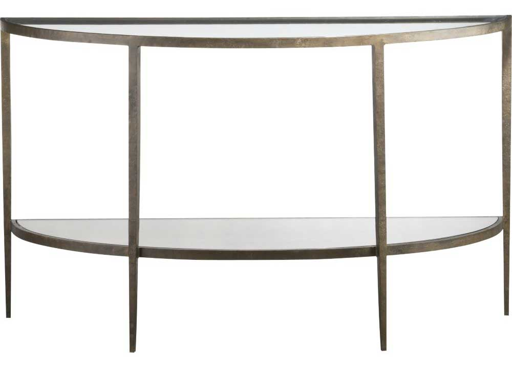 Demilune glass console table with tapering legs