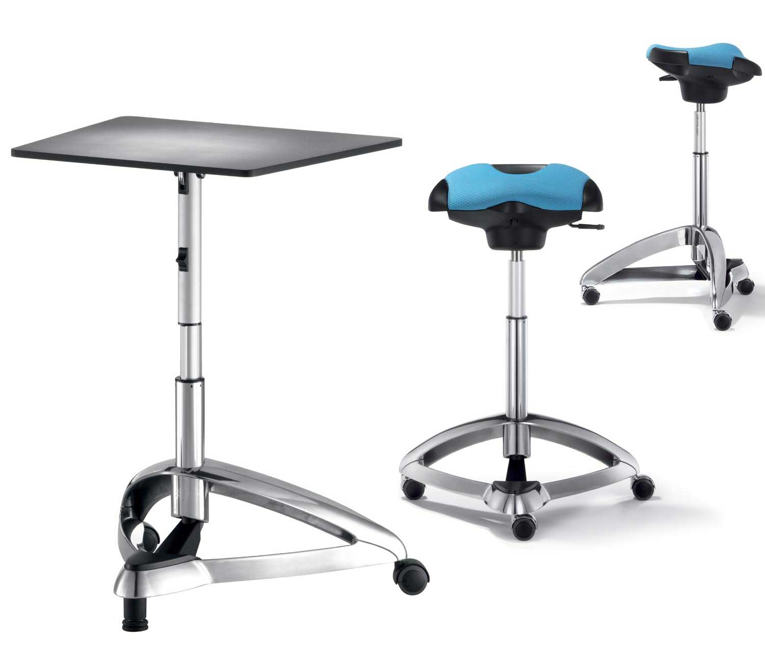 Dolpdhin Futuristic Metal Standing Office Desk and Seats