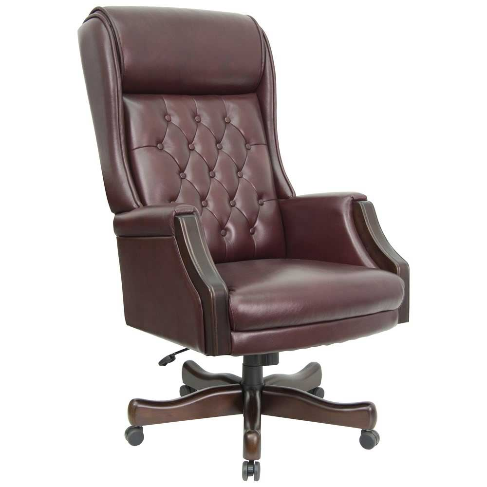 Genuine brown leather home office chair