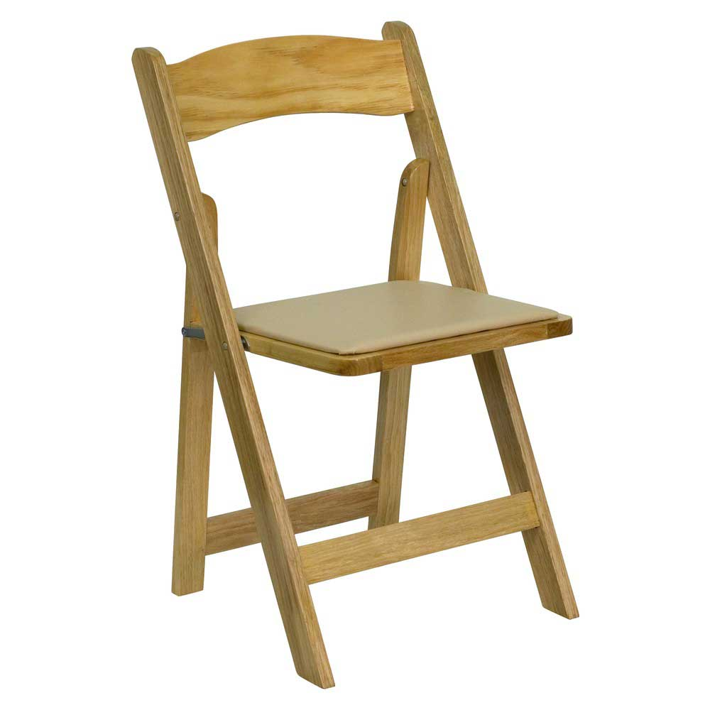Hercules Solid Natural Wood Vinyl Folding Chair