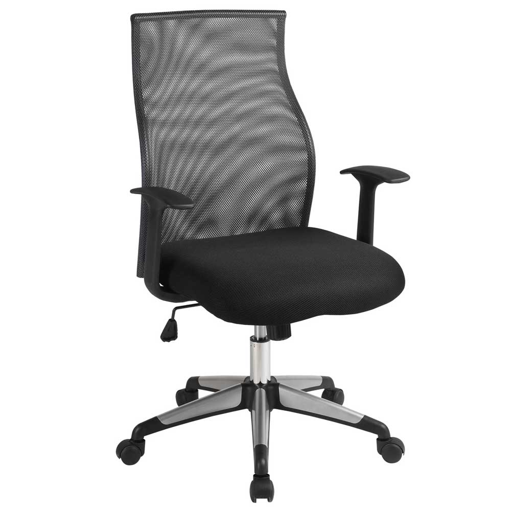 High Back Mesh Office Chair with Arms in Black