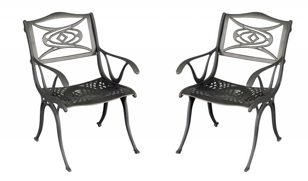 Homestyles Malibu Dark Cast Aluminum Arm Chair Set