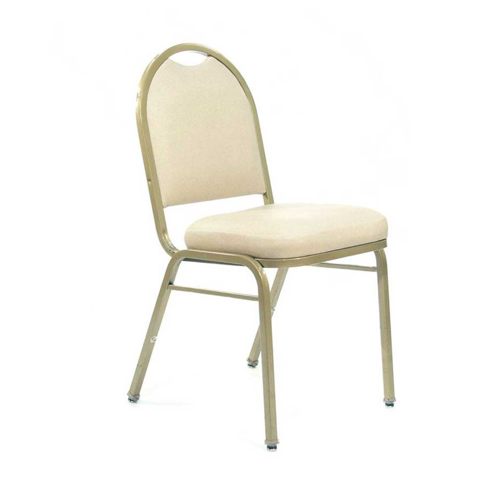 Ivory Padded Metal Frame Stacking Chair