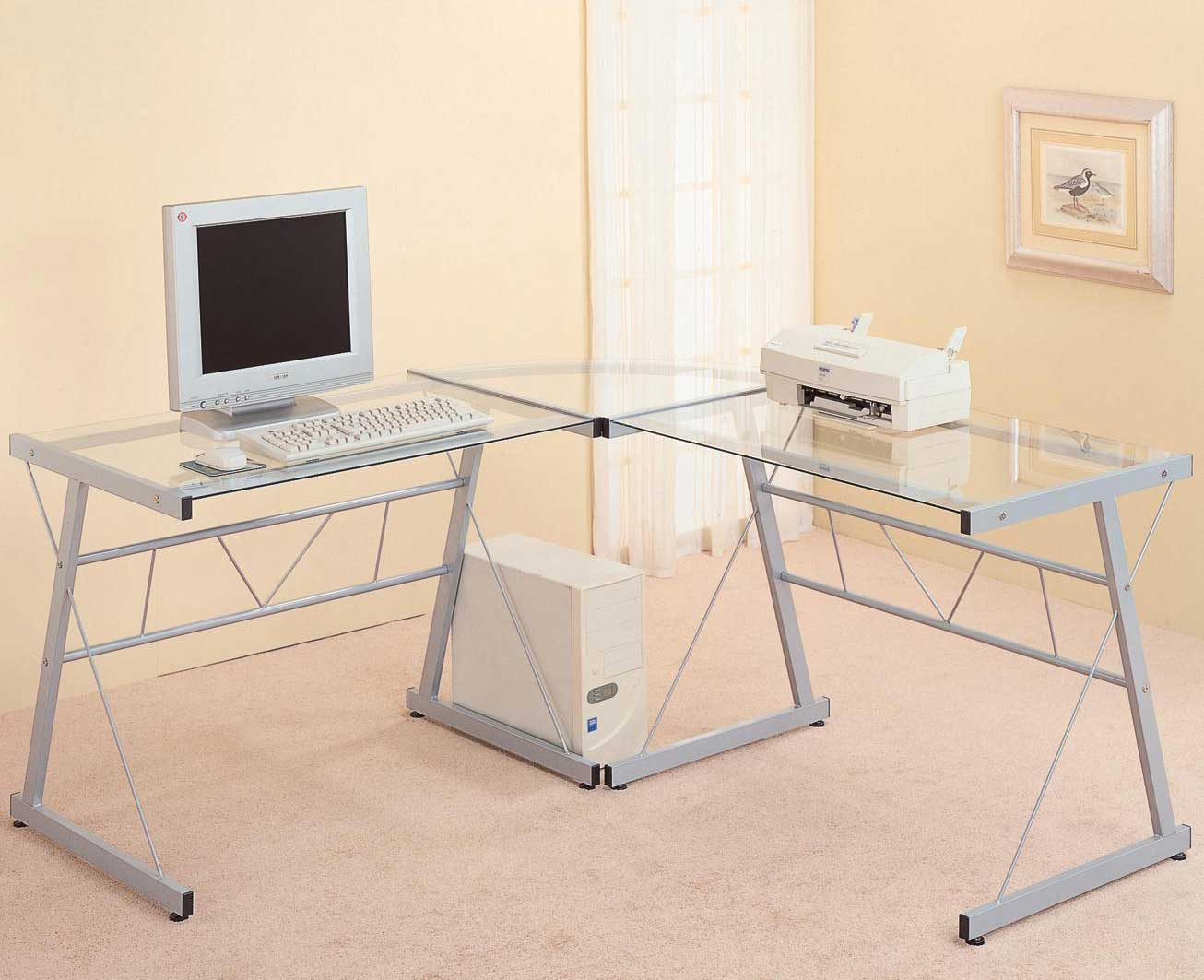 L-Shaped Glass Top Metal Computer Desk