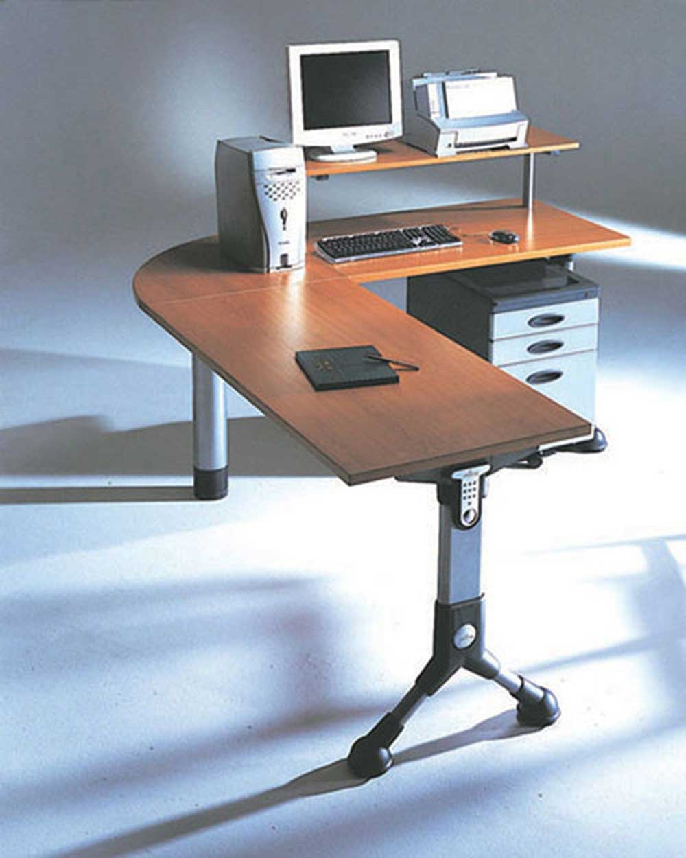 L-shaped custom home office computer workstation