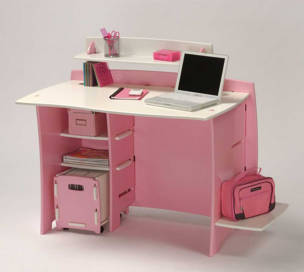 Legare Furniture Pink Desk with Cart and Shelves