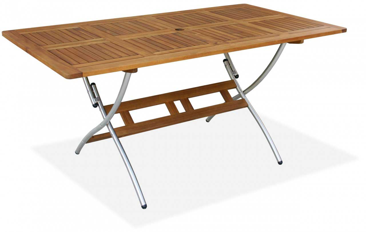 Livorno Solid Wood Folding Table with Metal Legs