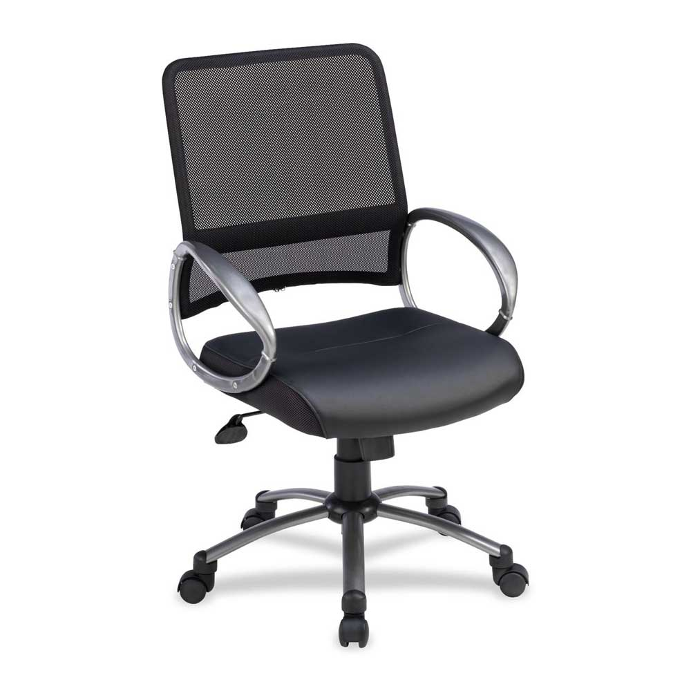 Lorell Mid Back Black Mesh Task Chairs