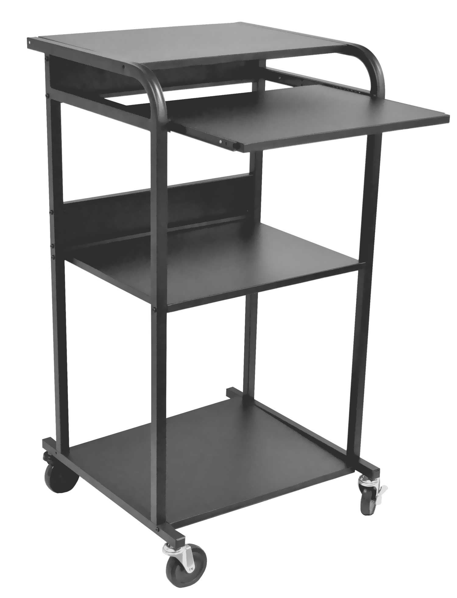 Luxor black laptop cart with keyboard tray