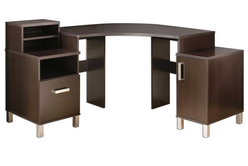 Modern brown corner desk with storage cabinet design