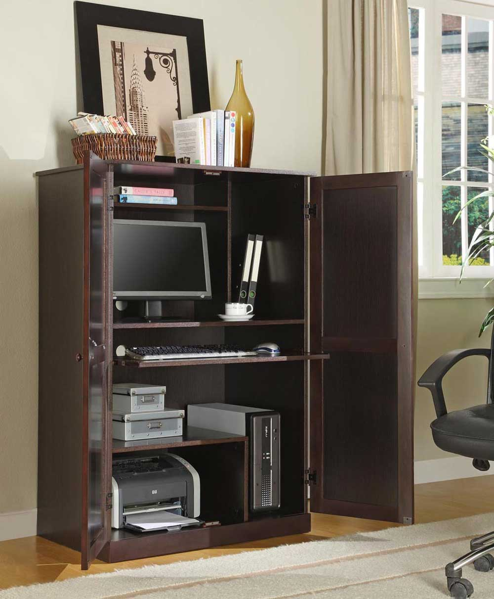 Modern computer corner armoire with front glass cover