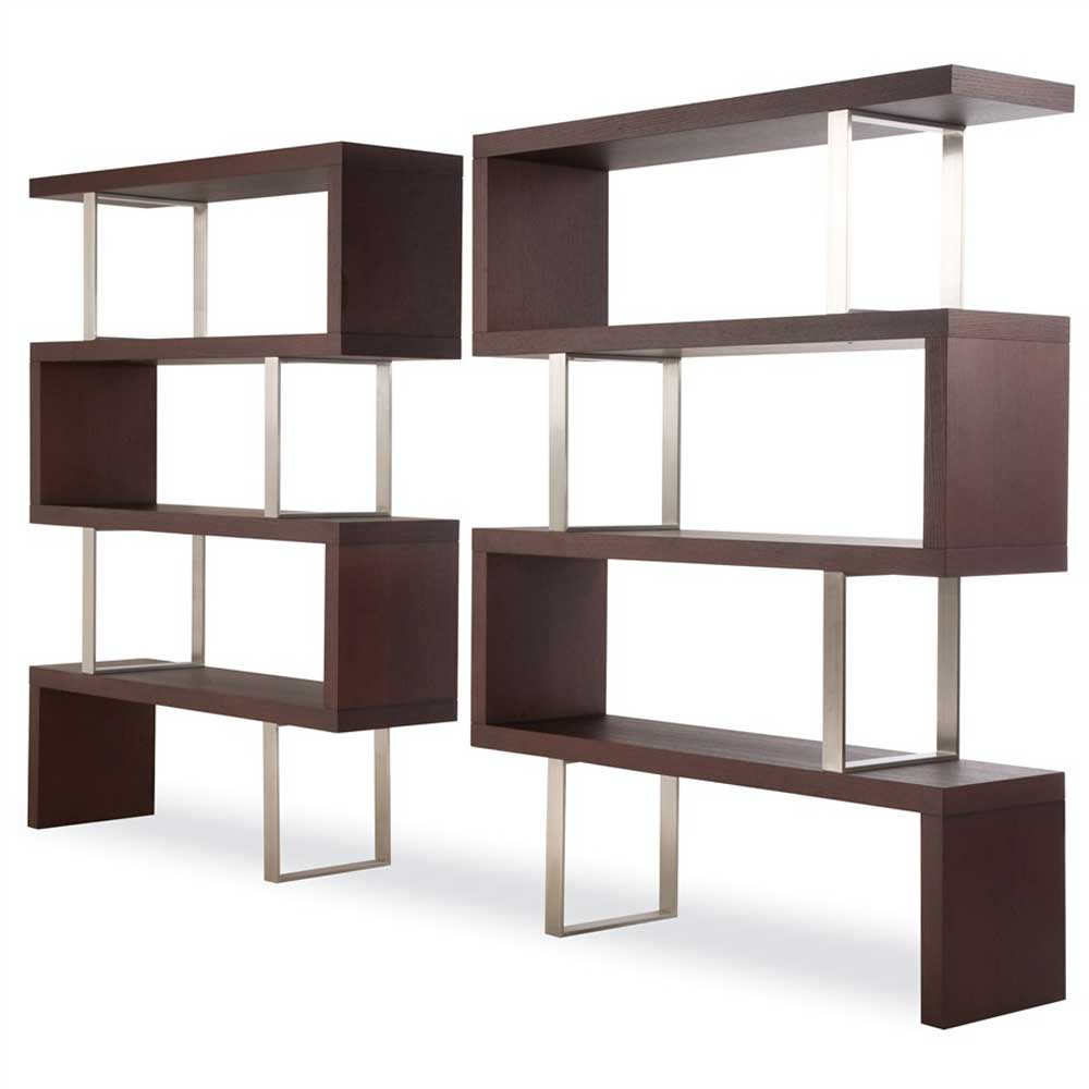 Pearl 4 Shelf Wenge Finish Room Divider Bookcase