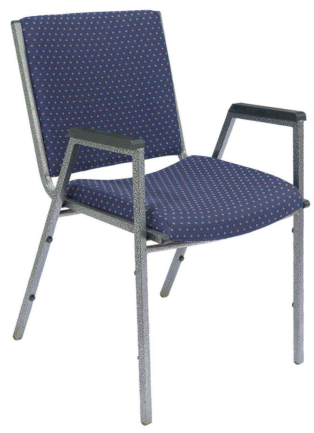Plastic stacking chair with padded fabric and arm