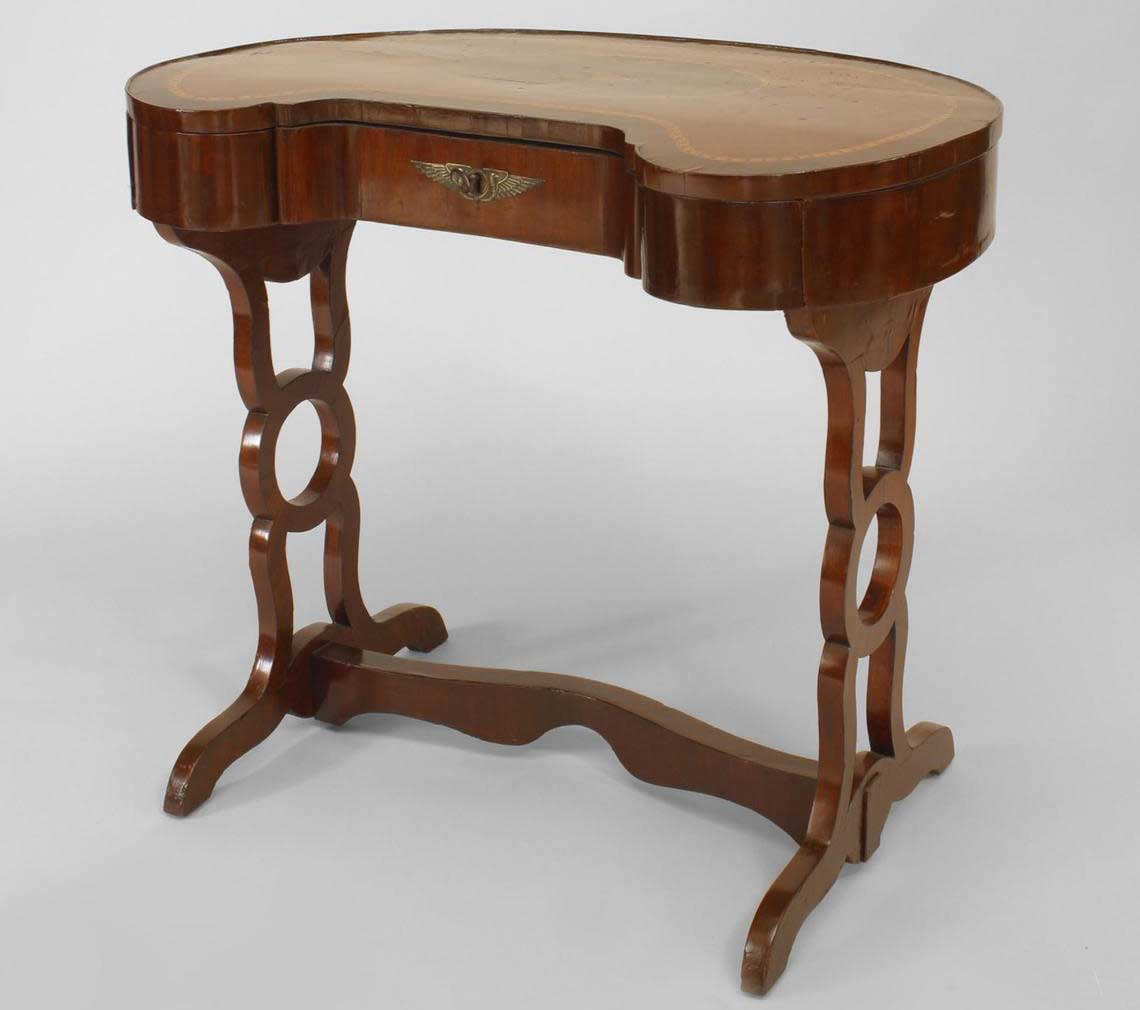 Russian style marquetry inlay walnut kidney desk