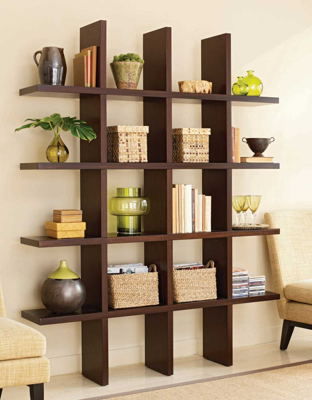 Simple bookcase interior room dividers