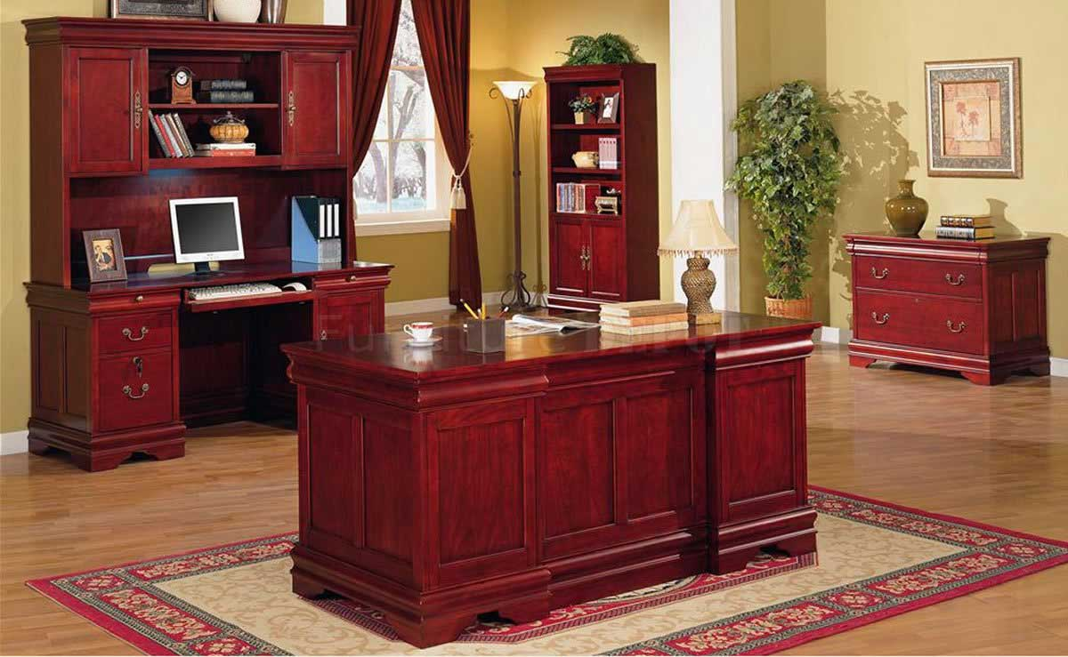 Solid cherry classic office furniture desk and storage