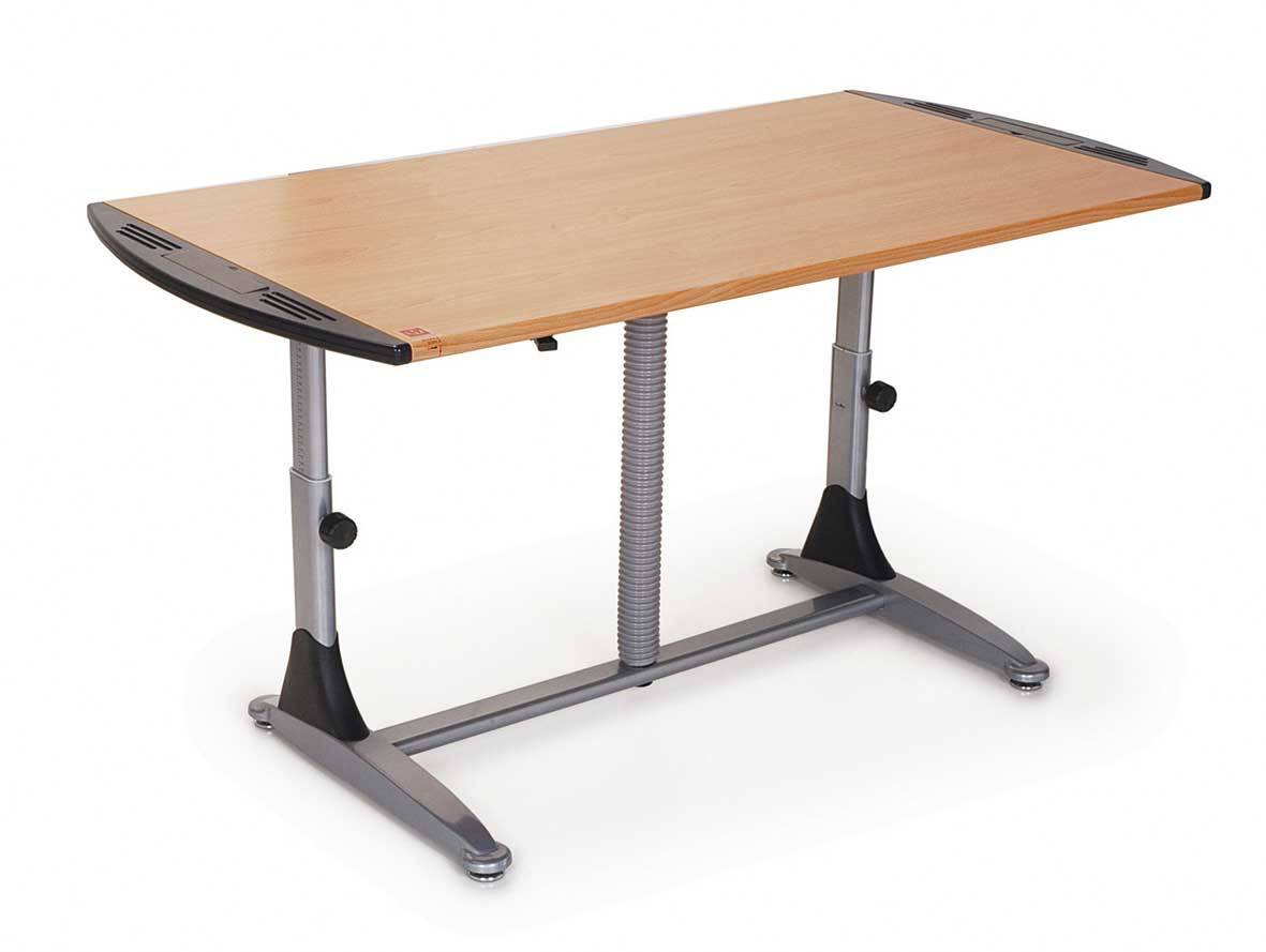 Specialty wood top adjustable height table