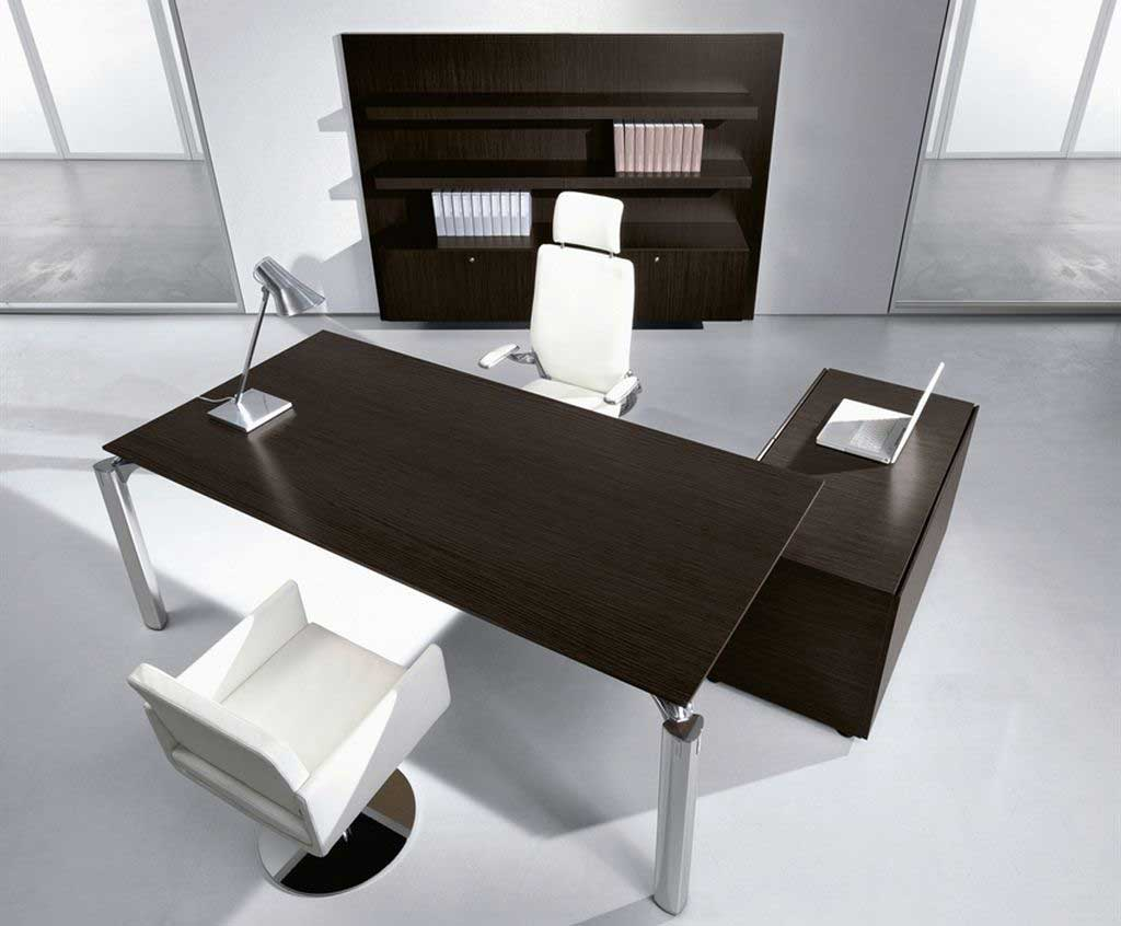 Stunning Black Solid Wood Modern Executive Desk and Storage