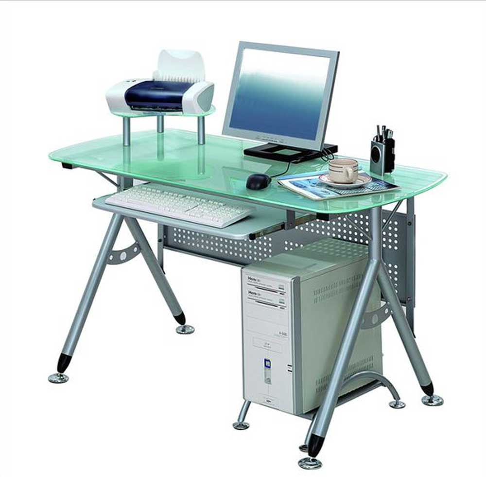 Techni Glacier Metal Computer Desks with Glass Top