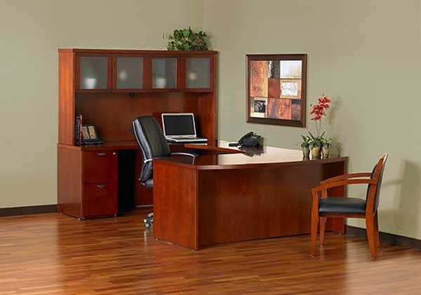 U-shaped bow front executive desk furniture with hutch