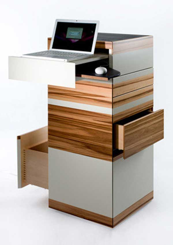 Unique standing laptop table with storage