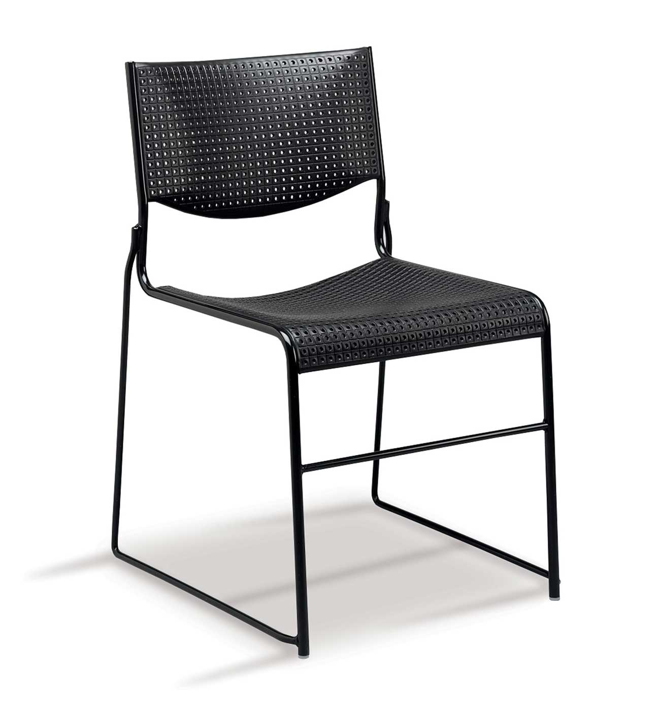 Wafer Solid Black Steel Stacking Chairs