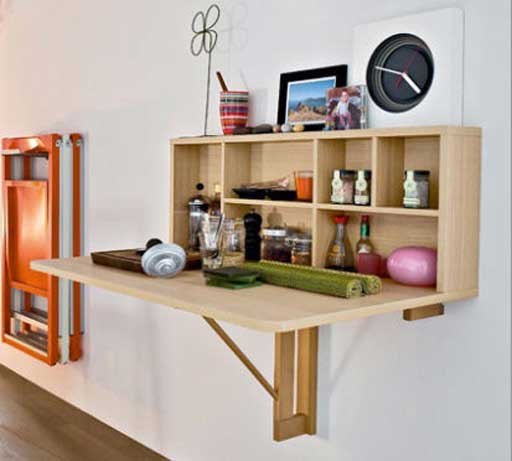Wall Mounted Wooden Folding Table with storage