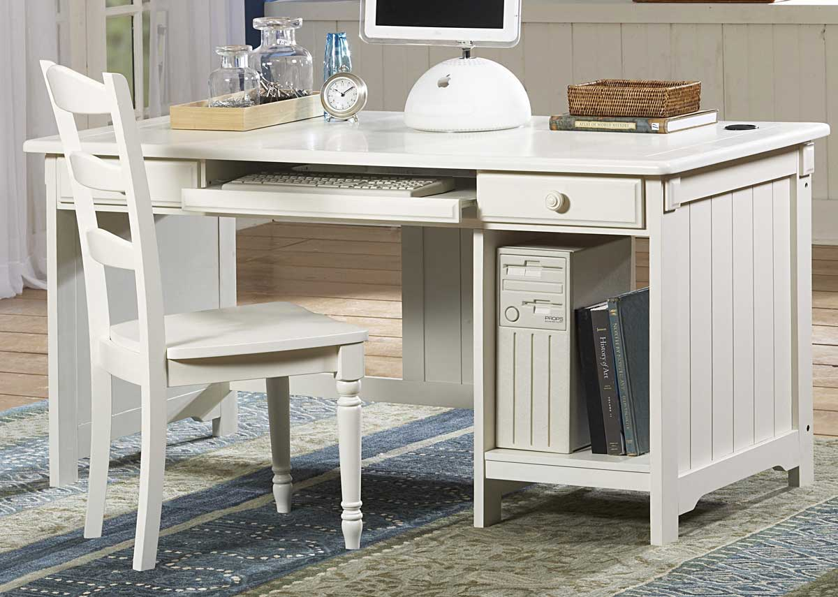 White Computer Writing Desk and Chair
