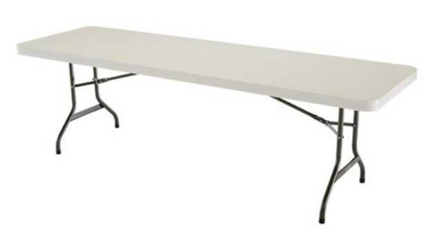 White Rectangle Full Length Folding Table