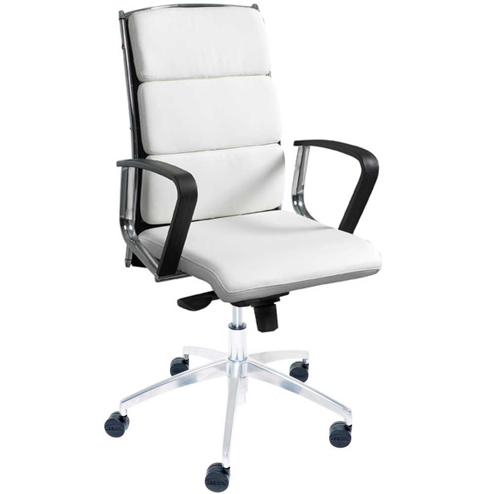 White and black arm roller office chair