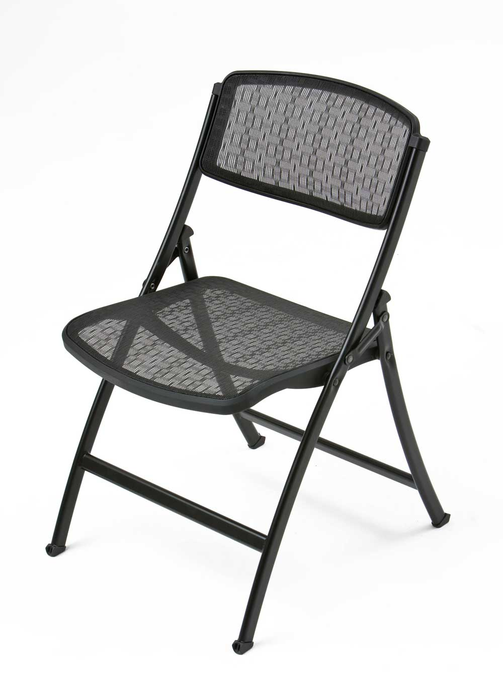 comfortable black mesh modern folding chair