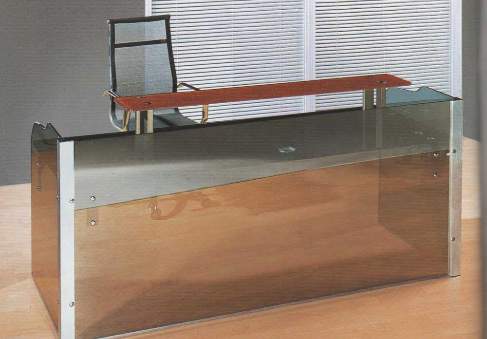 contemporary glass reception desks